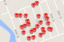 Map of Properties 36th to 39th Street
