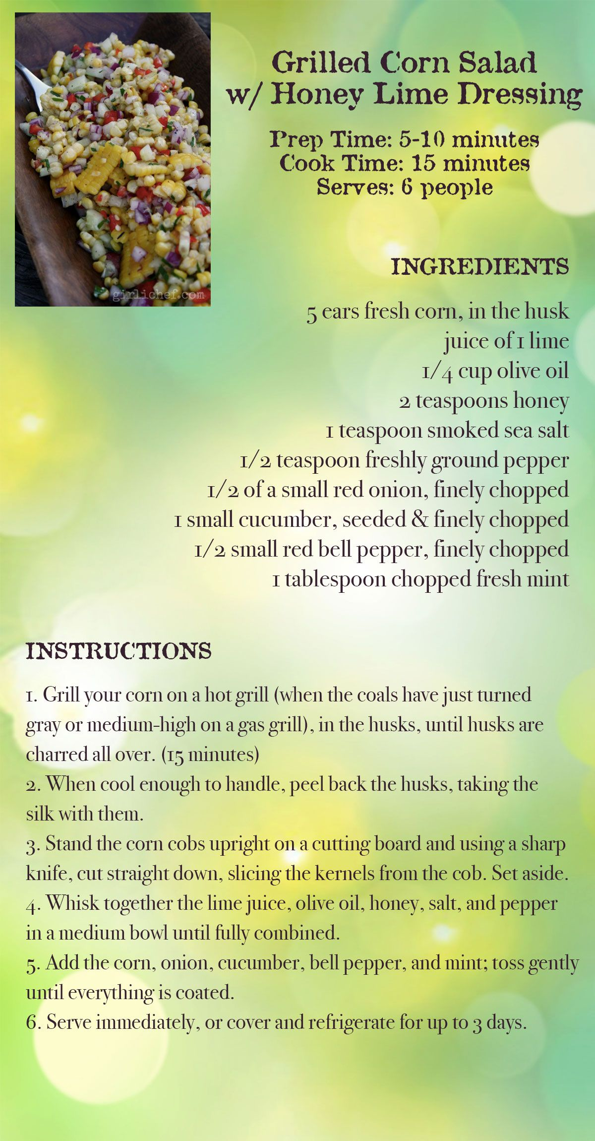 Grilled Corn Salad Recipe Card