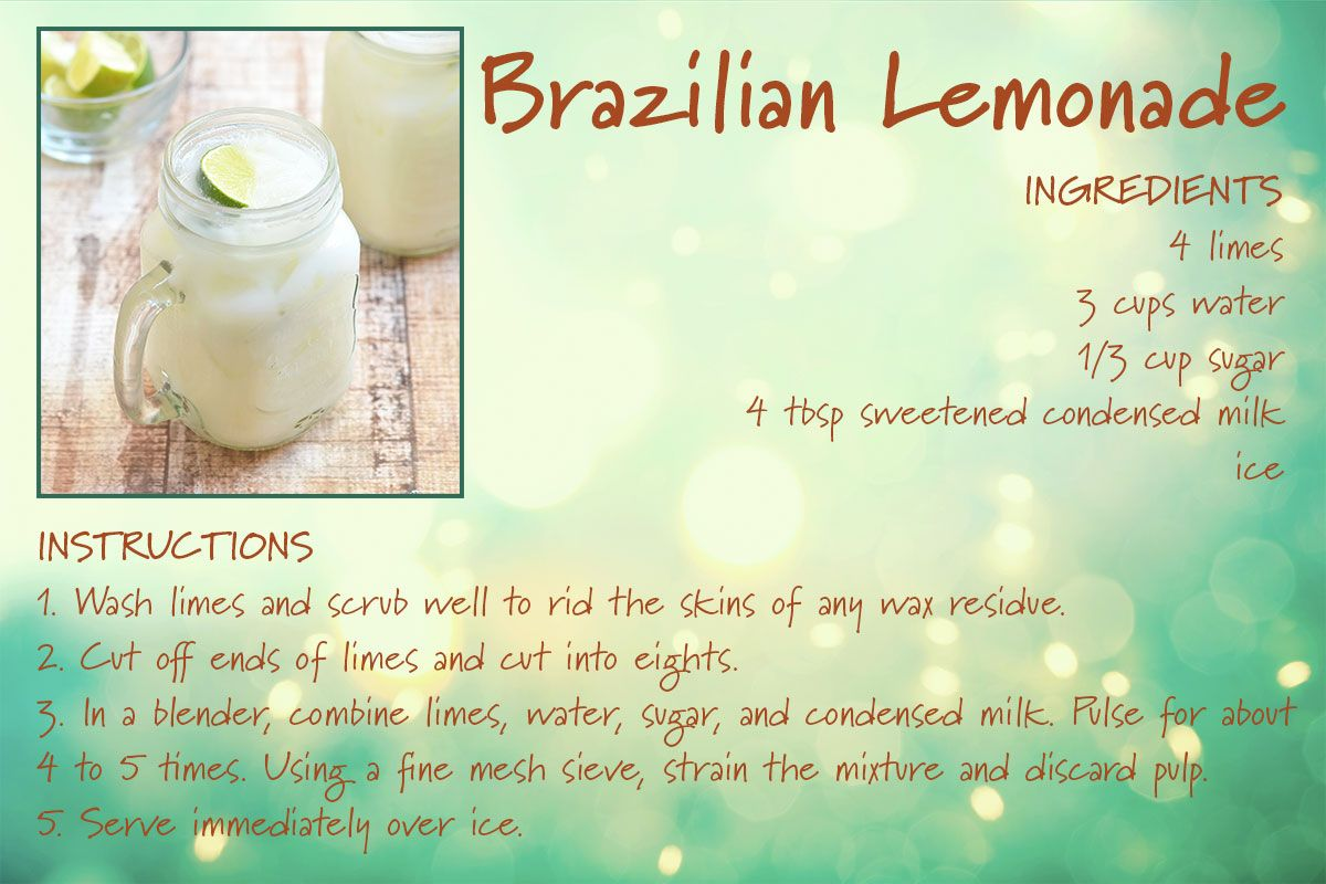 Brazilian Lemonade Recipe Card