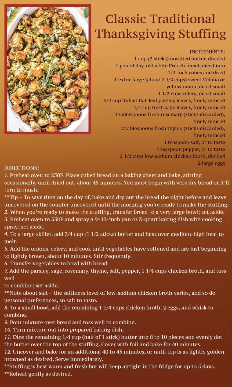 Classic Stuffing Recipe Card