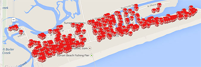 Map of Sunset Beach Vacations Properties