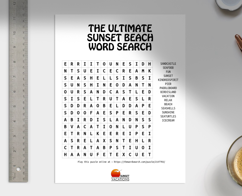 Sunset Beach Word Search Printable