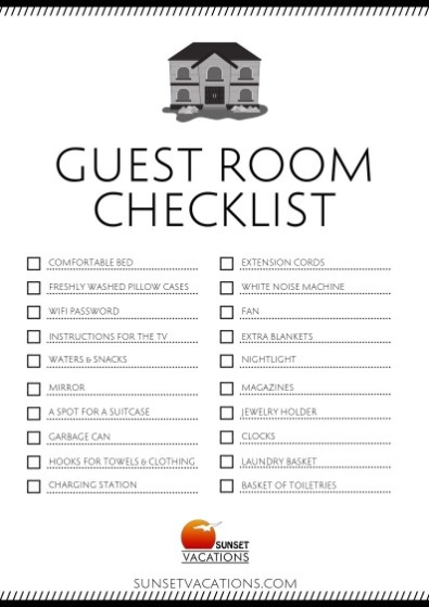 Guest Room Checklist Printable | Sunset Vacations